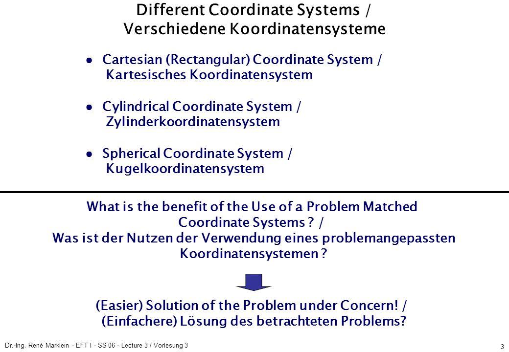 Dr.-Ing. René Marklein - EFT I - SS 06 - Lecture 3 / Vorlesung 3 3 Different Coordinate Systems / Verschiedene Koordinatensysteme Cartesian (Rectangul