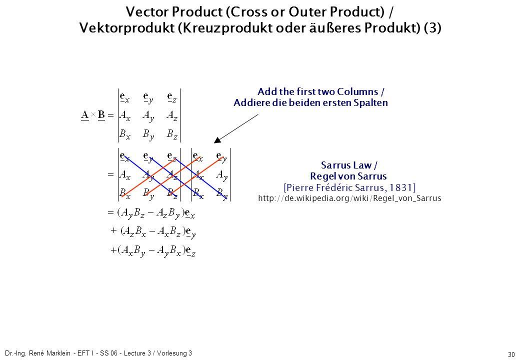 Dr.-Ing. René Marklein - EFT I - SS 06 - Lecture 3 / Vorlesung 3 30 Vector Product (Cross or Outer Product) / Vektorprodukt (Kreuzprodukt oder äußeres