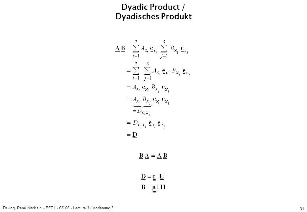 Dr.-Ing. René Marklein - EFT I - SS 06 - Lecture 3 / Vorlesung 3 31 Dyadic Product / Dyadisches Produkt