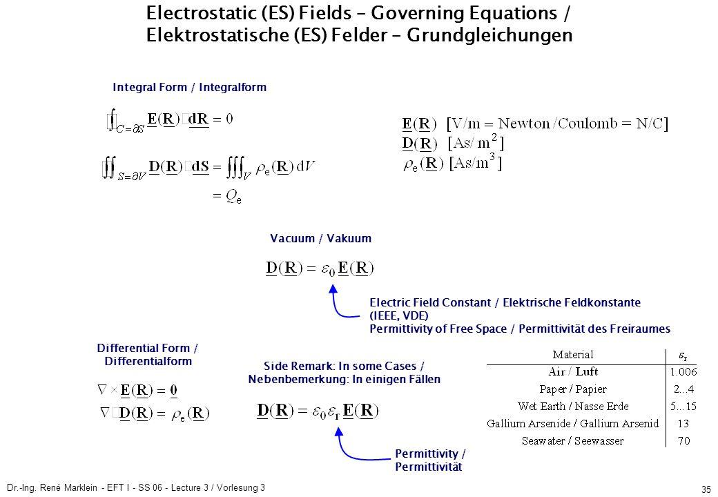 Dr.-Ing. René Marklein - EFT I - SS 06 - Lecture 3 / Vorlesung 3 35 Integral Form / Integralform Electrostatic (ES) Fields / Elektrostatische (ES) Fel