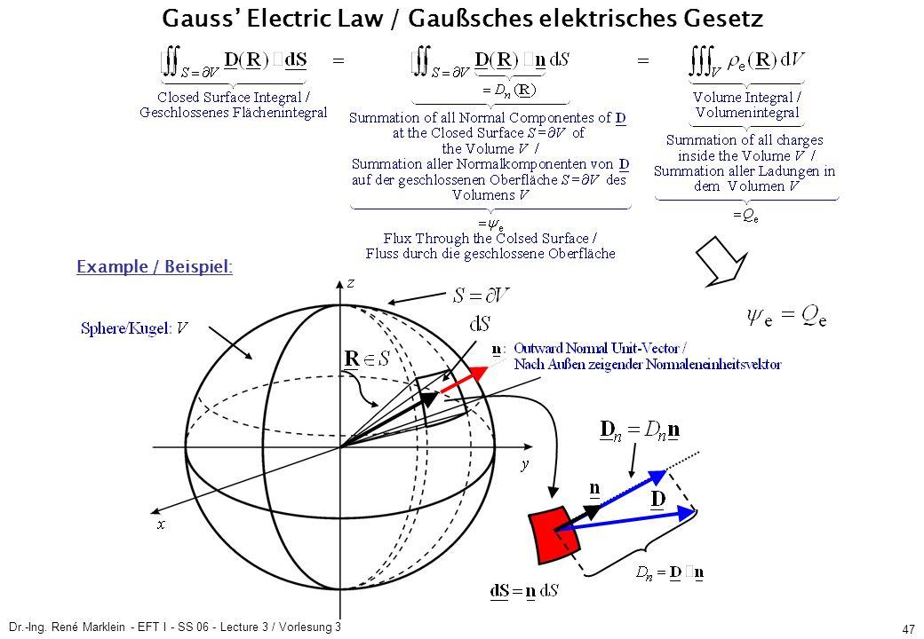 Dr.-Ing. René Marklein - EFT I - SS 06 - Lecture 3 / Vorlesung 3 47 Gauss Electric Law / Gaußsches elektrisches Gesetz Example / Beispiel: