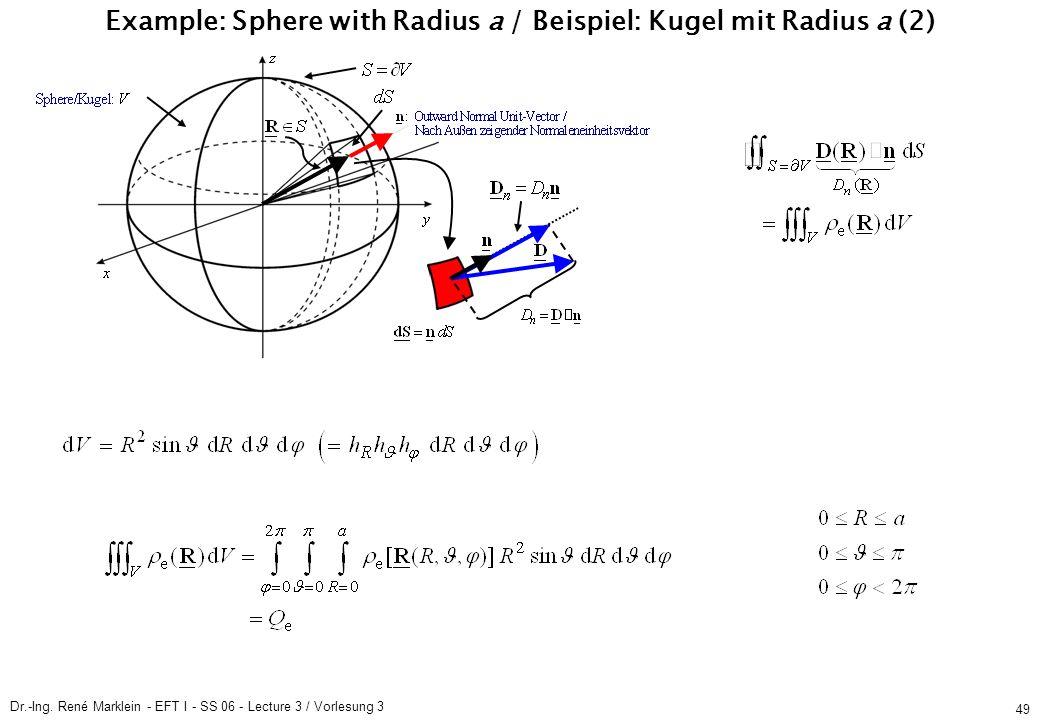 Dr.-Ing. René Marklein - EFT I - SS 06 - Lecture 3 / Vorlesung 3 49 Example: Sphere with Radius a / Beispiel: Kugel mit Radius a (2)