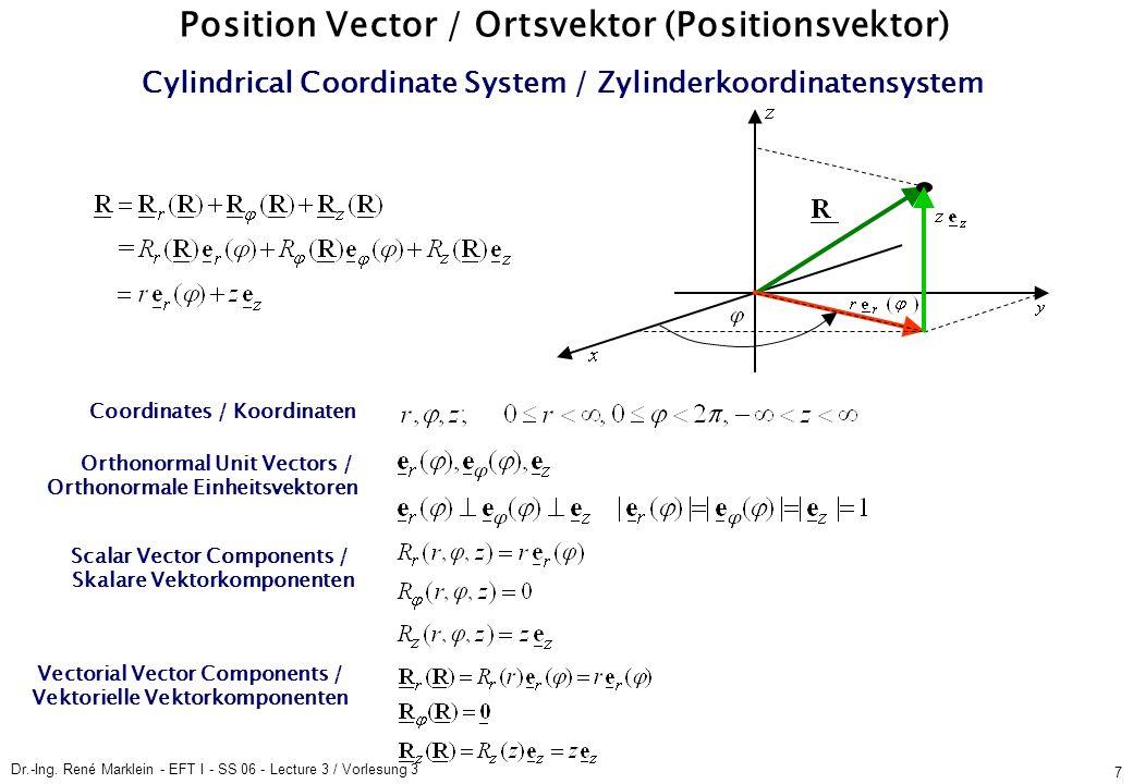 Dr.-Ing. René Marklein - EFT I - SS 06 - Lecture 3 / Vorlesung 3 7 Position Vector / Ortsvektor (Positionsvektor) Cylindrical Coordinate System / Zyli