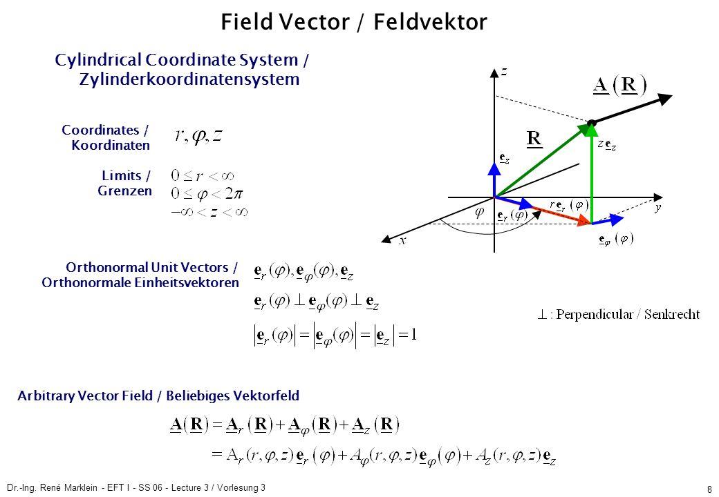 Dr.-Ing. René Marklein - EFT I - SS 06 - Lecture 3 / Vorlesung 3 8 Field Vector / Feldvektor Cylindrical Coordinate System / Zylinderkoordinatensystem