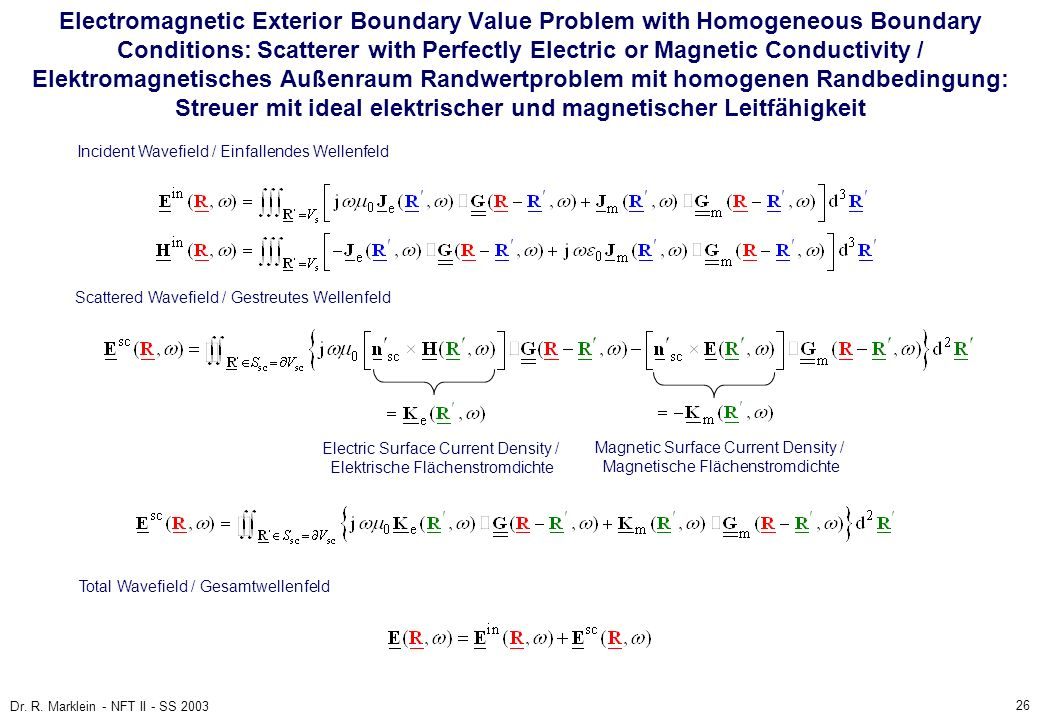 26 Dr. R. Marklein - NFT II - SS 2003 Electromagnetic Exterior Boundary Value Problem with Homogeneous Boundary Conditions: Scatterer with Perfectly E