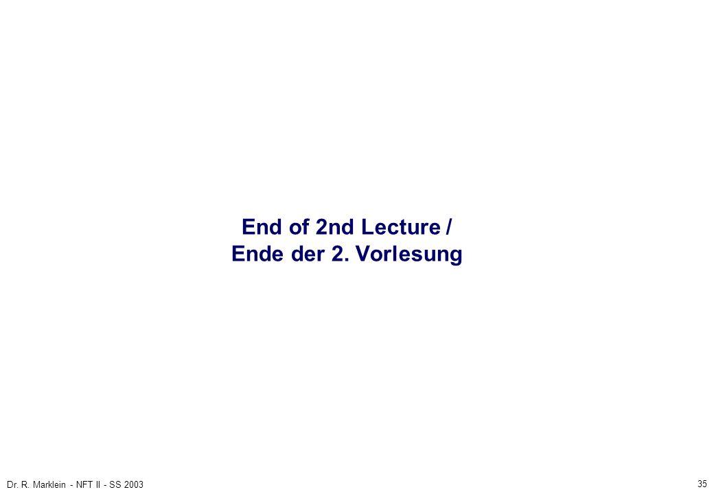 35 Dr. R. Marklein - NFT II - SS 2003 End of 2nd Lecture / Ende der 2. Vorlesung