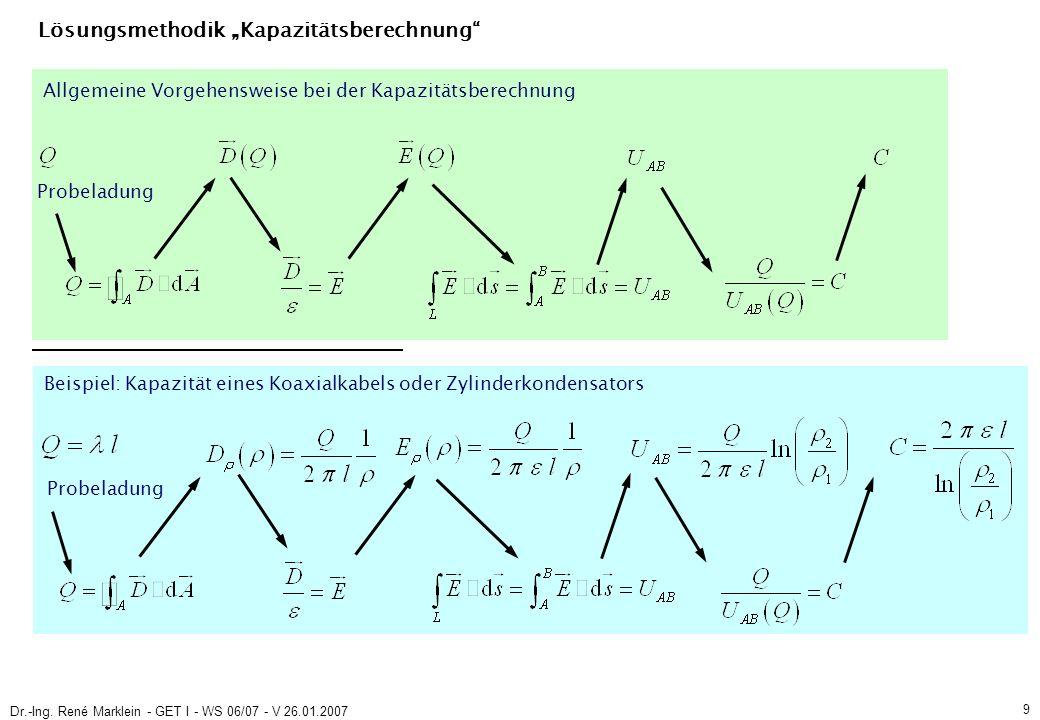 Dr.-Ing. René Marklein - GET I - WS 06/07 - V 26.01.2007 9 Lösungsmethodik Kapazitätsberechnung Probeladung Beispiel: Kapazität eines Koaxialkabels od