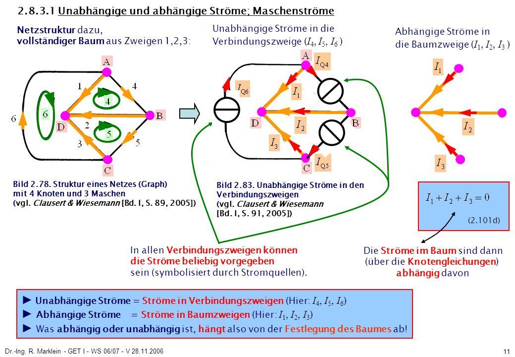 Dr.-Ing. R. Marklein - GET I - WS 06/07 - V 28.11.2006 11 2.8.3.1 Unabhängige und abhängige Ströme; Maschenströme Netzstruktur dazu, vollständiger Bau
