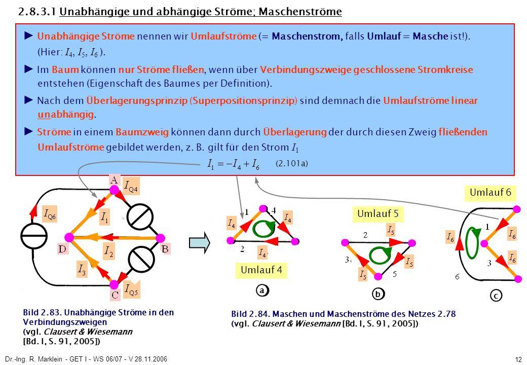 Dr.-Ing. R. Marklein - GET I - WS 06/07 - V 28.11.2006 12 Bild 2.83. Unabhängige Ströme in den Verbindungszweigen (vgl. Clausert & Wiesemann [Bd. I, S