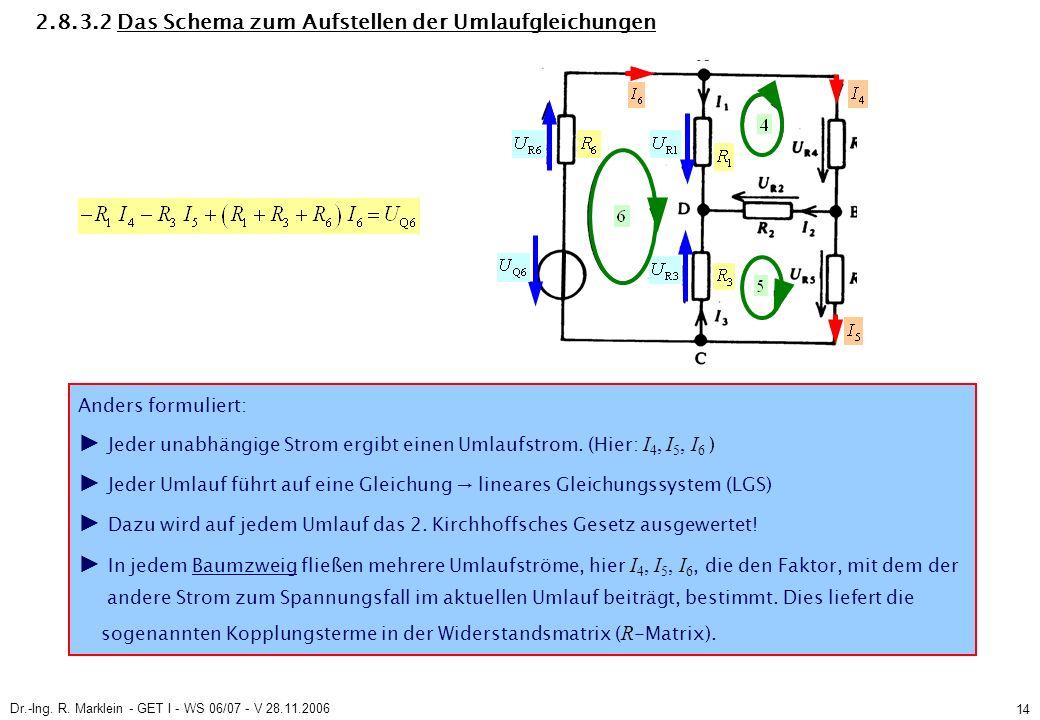 Dr.-Ing. R. Marklein - GET I - WS 06/07 - V 28.11.2006 14 2.8.3.2 Das Schema zum Aufstellen der Umlaufgleichungen Anders formuliert: Jeder unabhängige