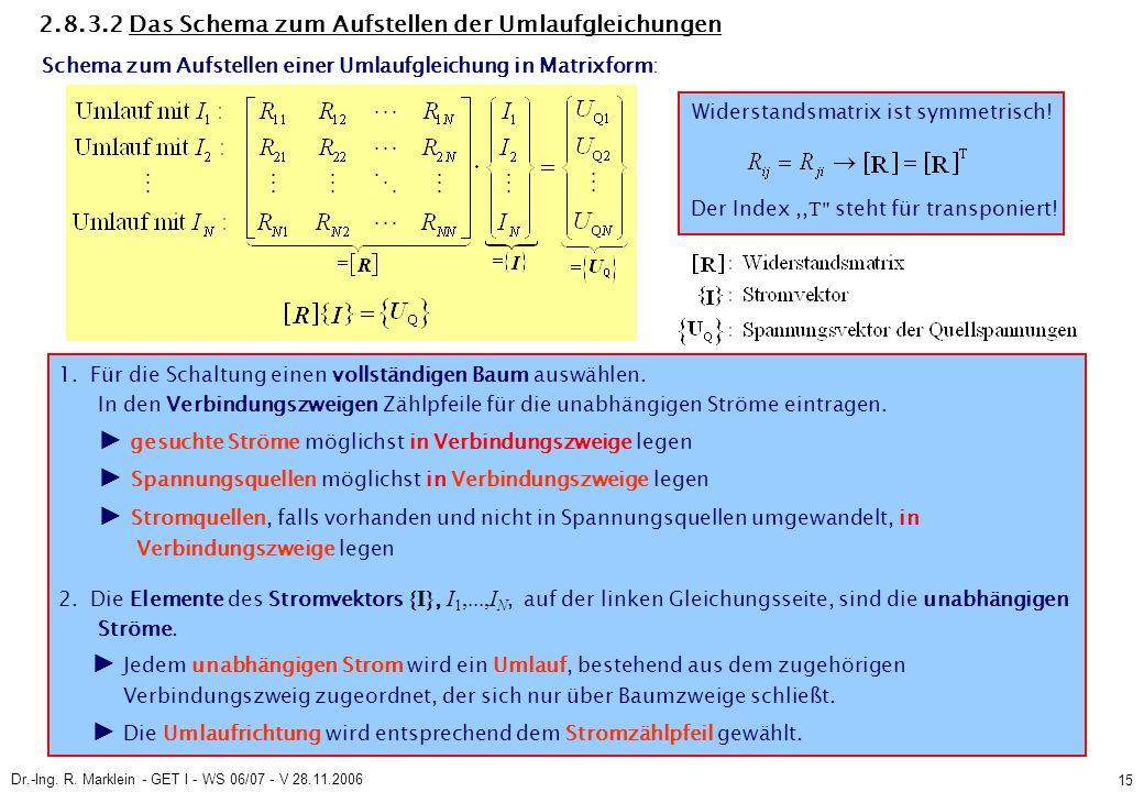 Dr.-Ing. R. Marklein - GET I - WS 06/07 - V 28.11.2006 15 2.8.3.2 Das Schema zum Aufstellen der Umlaufgleichungen Schema zum Aufstellen einer Umlaufgl