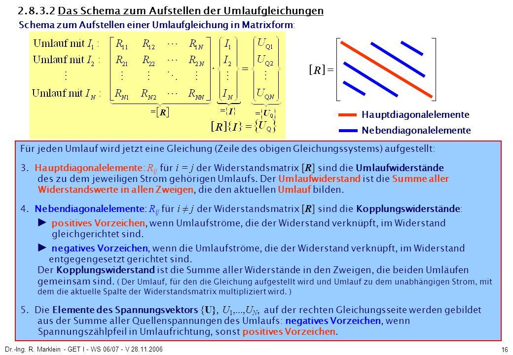 Dr.-Ing. R. Marklein - GET I - WS 06/07 - V 28.11.2006 16 2.8.3.2 Das Schema zum Aufstellen der Umlaufgleichungen Für jeden Umlauf wird jetzt eine Gle