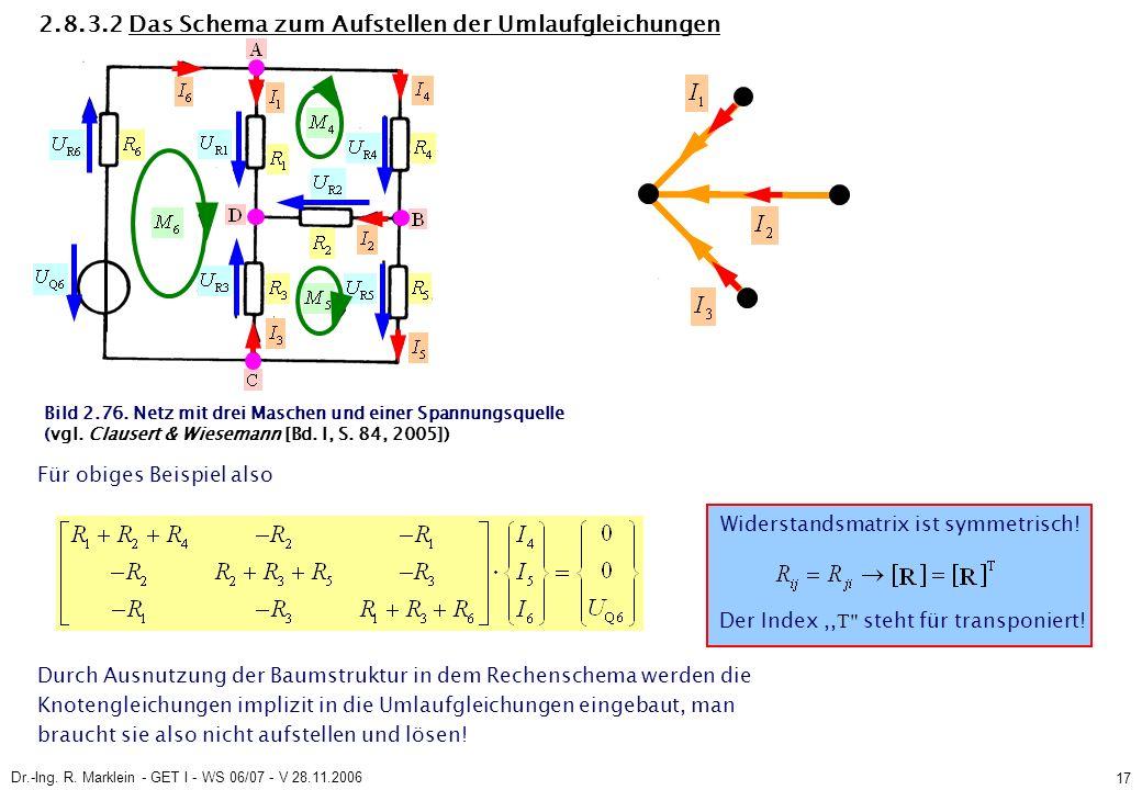 Dr.-Ing. R. Marklein - GET I - WS 06/07 - V 28.11.2006 17 Bild 2.76. Netz mit drei Maschen und einer Spannungsquelle (vgl. Clausert & Wiesemann [Bd. I