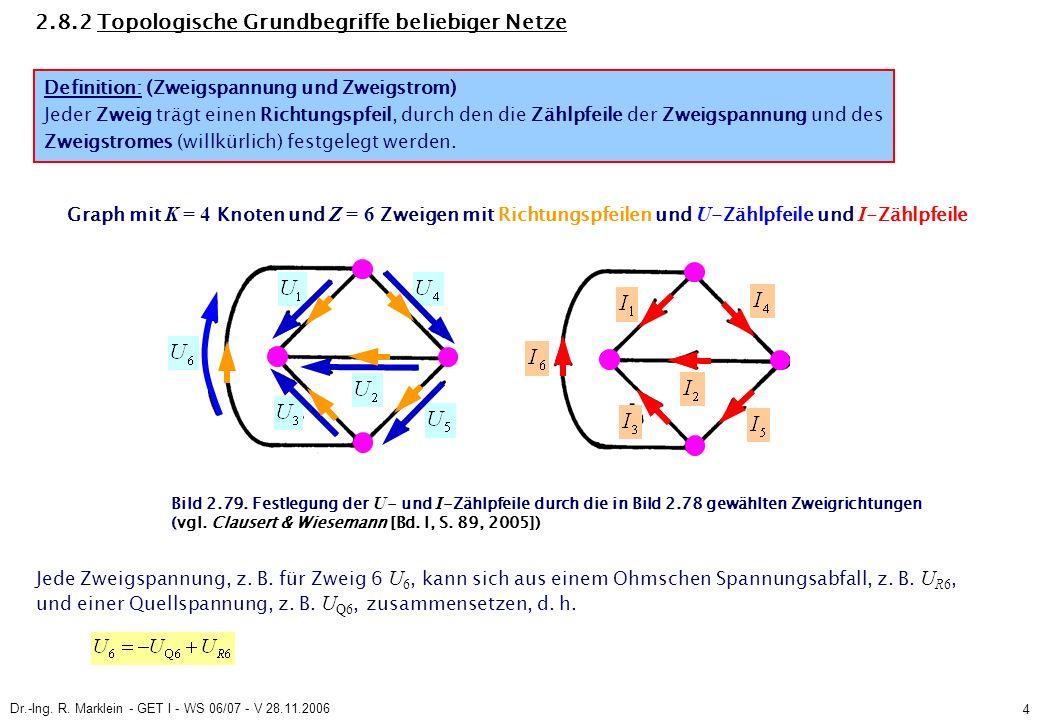 Dr.-Ing. R. Marklein - GET I - WS 06/07 - V 28.11.2006 4 2.8.2 Topologische Grundbegriffe beliebiger Netze Definition: (Zweigspannung und Zweigstrom)