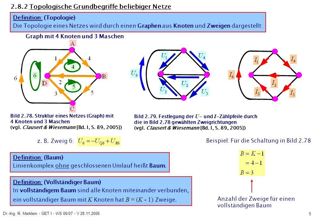 Dr.-Ing. R. Marklein - GET I - WS 06/07 - V 28.11.2006 5 2.8.2 Topologische Grundbegriffe beliebiger Netze z. B. Zweig 6: Definition: (Vollständiger B