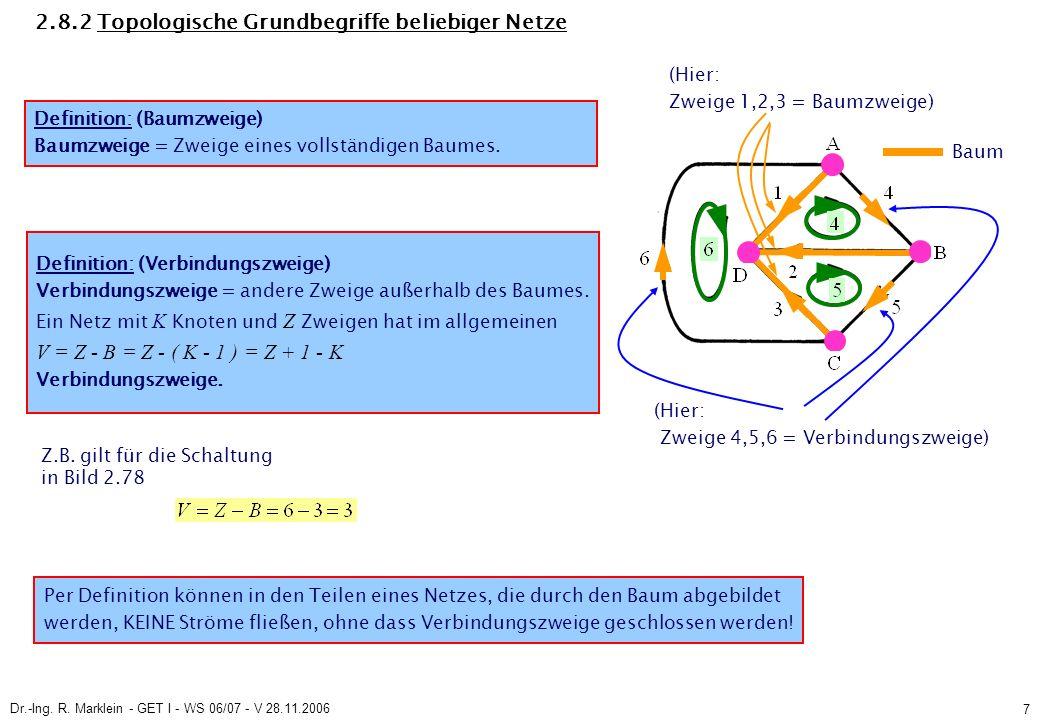 Dr.-Ing. R. Marklein - GET I - WS 06/07 - V 28.11.2006 7 2.8.2 Topologische Grundbegriffe beliebiger Netze Definition: (Baumzweige) Baumzweige = Zweig