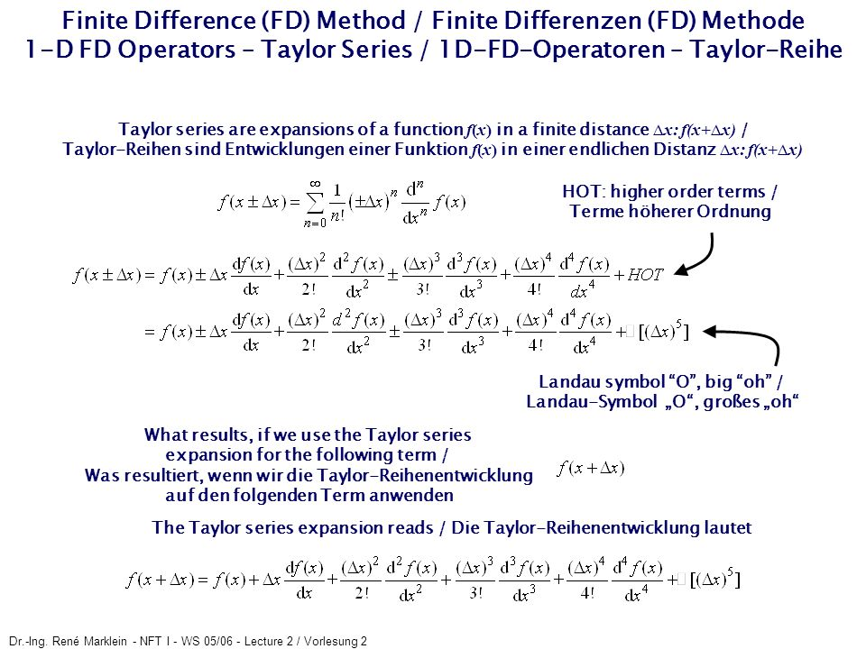 Dr.-Ing. René Marklein - NFT I - WS 05/06 - Lecture 2 / Vorlesung 2 Finite Difference (FD) Method / Finite Differenzen (FD) Methode 1-D FD Operators –