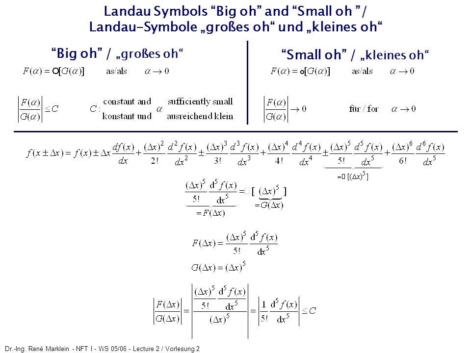 Dr.-Ing. René Marklein - NFT I - WS 05/06 - Lecture 2 / Vorlesung 2 Landau Symbols Big oh and Small oh / Landau-Symbole großes oh und kleines oh Big o