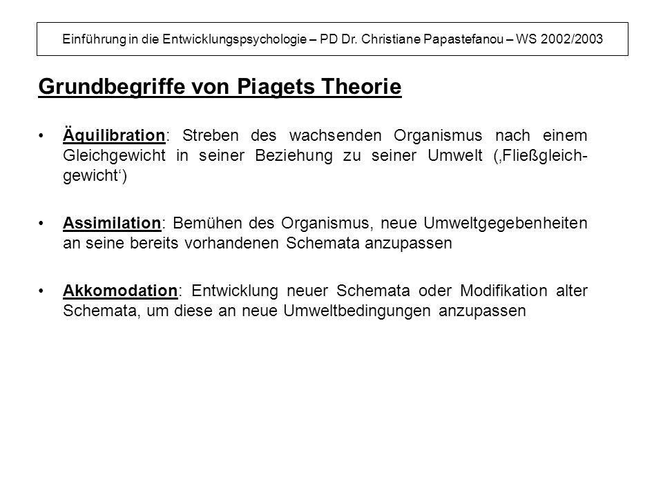 Einführung in die Entwicklungspsychologie – PD Dr. Christiane Papastefanou – WS 2002/2003 Grundbegriffe von Piagets Theorie Äquilibration: Streben des