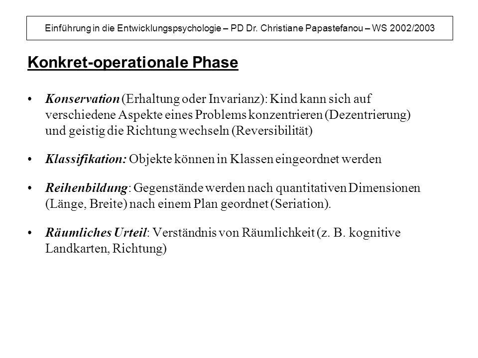 Einführung in die Entwicklungspsychologie – PD Dr. Christiane Papastefanou – WS 2002/2003 Konkret-operationale Phase Konservation (Erhaltung oder Inva