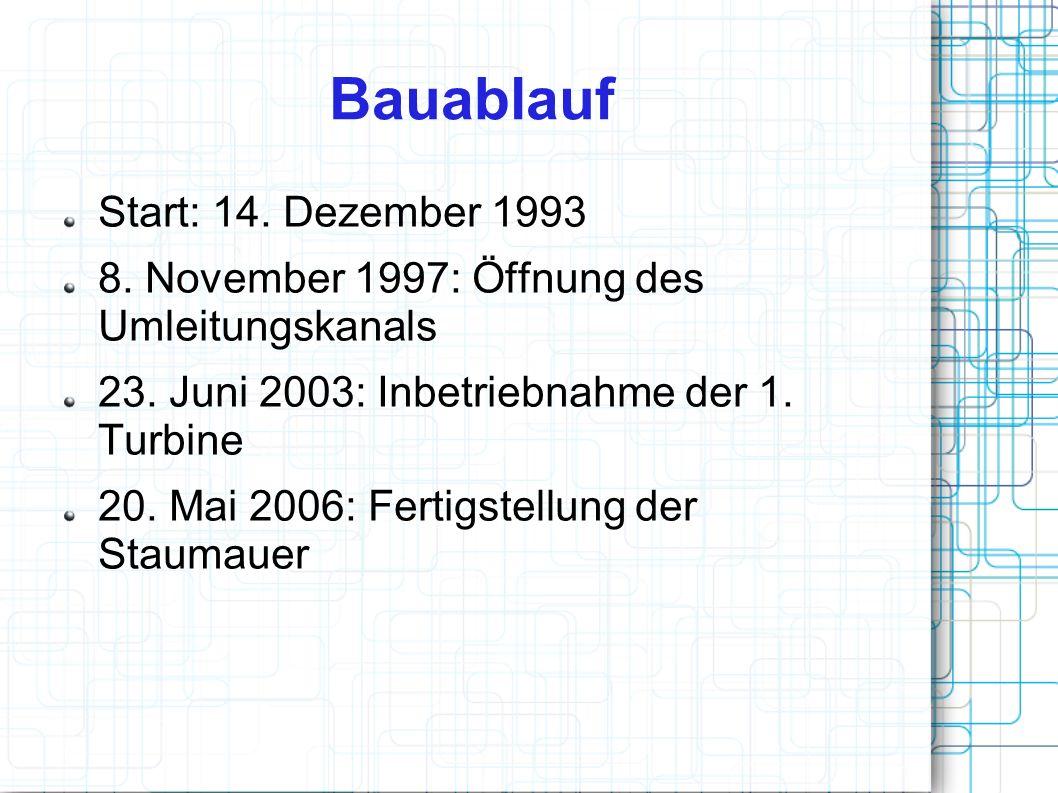 Bauablauf Start: 14. Dezember 1993 8. November 1997: Öffnung des Umleitungskanals 23. Juni 2003: Inbetriebnahme der 1. Turbine 20. Mai 2006: Fertigste
