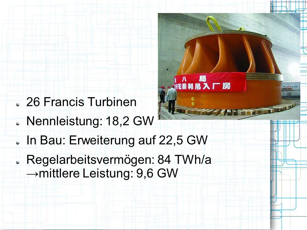 26 Francis Turbinen Nennleistung: 18,2 GW In Bau: Erweiterung auf 22,5 GW Regelarbeitsvermögen: 84 TWh/a mittlere Leistung: 9,6 GW