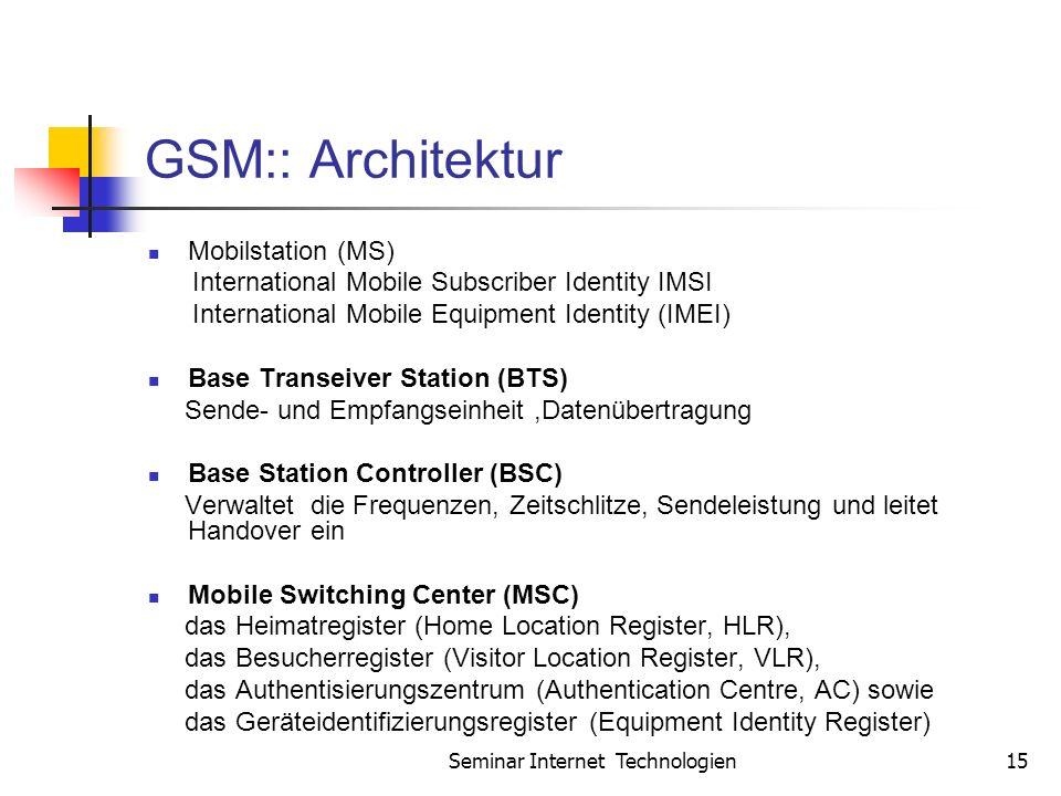 Seminar Internet Technologien15 GSM:: Architektur Mobilstation (MS) International Mobile Subscriber Identity IMSI International Mobile Equipment Identity (IMEI) Base Transeiver Station (BTS) Sende- und Empfangseinheit,Datenübertragung Base Station Controller (BSC) Verwaltet die Frequenzen, Zeitschlitze, Sendeleistung und leitet Handover ein Mobile Switching Center (MSC) das Heimatregister (Home Location Register, HLR), das Besucherregister (Visitor Location Register, VLR), das Authentisierungszentrum (Authentication Centre, AC) sowie das Geräteidentifizierungsregister (Equipment Identity Register)