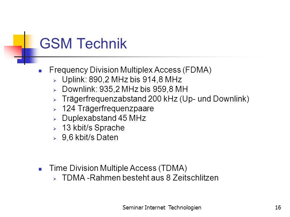 Seminar Internet Technologien16 GSM Technik Frequency Division Multiplex Access (FDMA) Uplink: 890,2 MHz bis 914,8 MHz Downlink: 935,2 MHz bis 959,8 MH Trägerfrequenzabstand 200 kHz (Up- und Downlink) 124 Trägerfrequenzpaare Duplexabstand 45 MHz 13 kbit/s Sprache 9,6 kbit/s Daten Time Division Multiple Access (TDMA) TDMA -Rahmen besteht aus 8 Zeitschlitzen