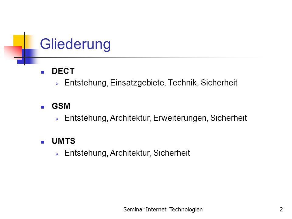 Seminar Internet Technologien2 Gliederung DECT Entstehung, Einsatzgebiete, Technik, Sicherheit GSM Entstehung, Architektur, Erweiterungen, Sicherheit UMTS Entstehung, Architektur, Sicherheit