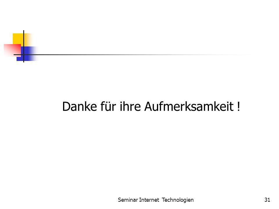Seminar Internet Technologien31 Danke für ihre Aufmerksamkeit !