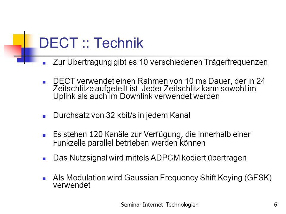 Seminar Internet Technologien6 DECT :: Technik Zur Übertragung gibt es 10 verschiedenen Trägerfrequenzen DECT verwendet einen Rahmen von 10 ms Dauer, der in 24 Zeitschlitze aufgeteilt ist.
