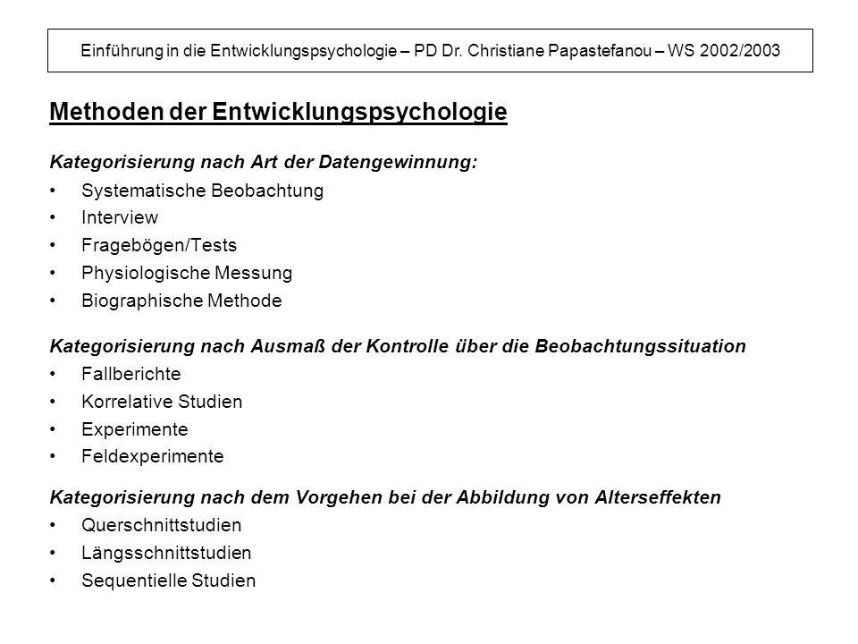 Einführung in die Entwicklungspsychologie – PD Dr. Christiane Papastefanou – WS 2002/2003 Methoden der Entwicklungspsychologie Kategorisierung nach Ar