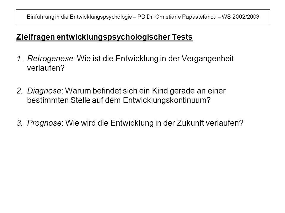 Einführung in die Entwicklungspsychologie – PD Dr. Christiane Papastefanou – WS 2002/2003 Zielfragen entwicklungspsychologischer Tests 1.Retrogenese: