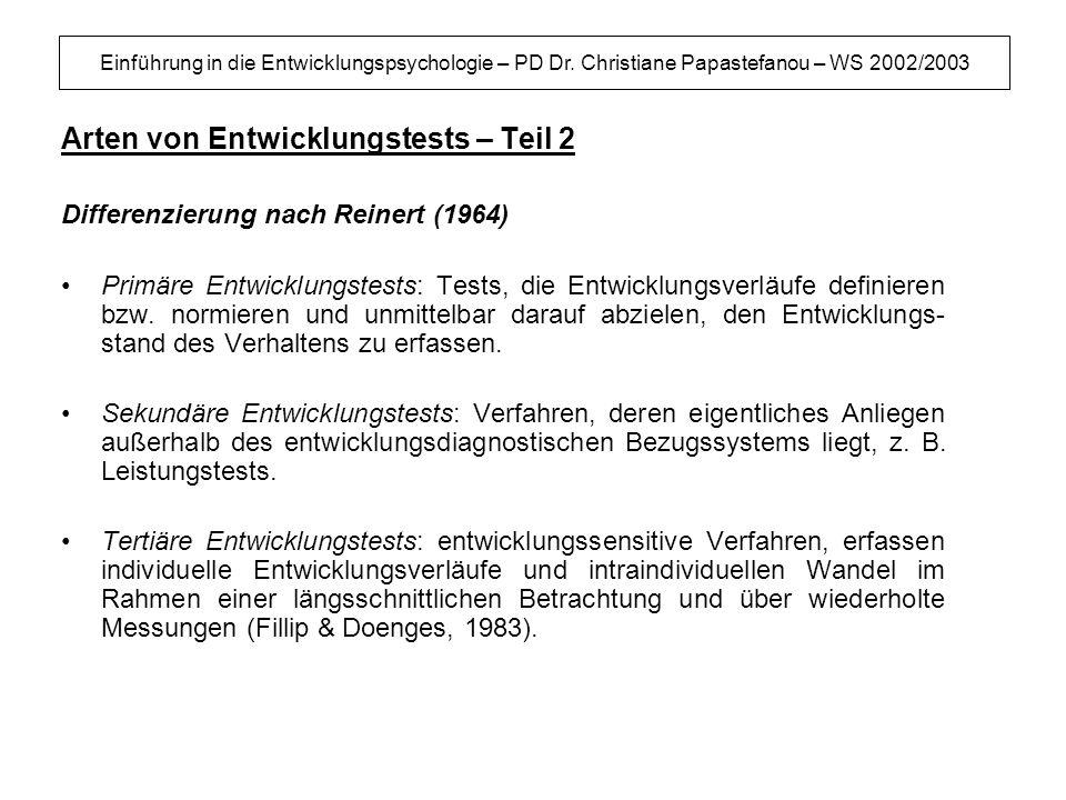 Einführung in die Entwicklungspsychologie – PD Dr. Christiane Papastefanou – WS 2002/2003 Arten von Entwicklungstests – Teil 2 Differenzierung nach Re