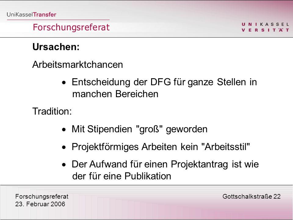 ForschungsreferatGottschalkstraße 22 23. Februar 2006 Ursachen: Arbeitsmarktchancen Entscheidung der DFG für ganze Stellen in manchen Bereichen Tradit