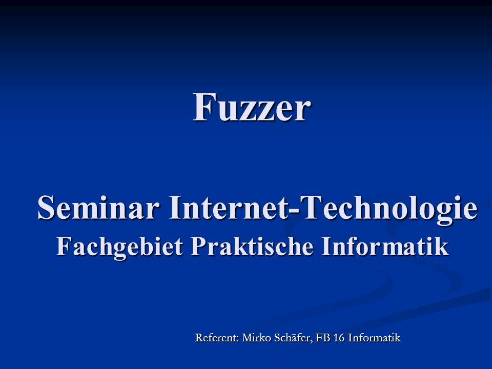 Fuzzer Seminar Internet-Technologie Fachgebiet Praktische Informatik Referent: Mirko Schäfer, FB 16 Informatik