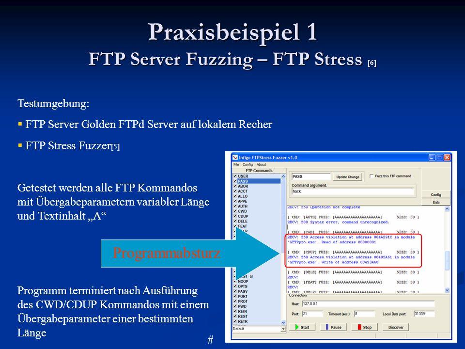 Praxisbeispiel 1 FTP Server Fuzzing – FTP Stress [6] Testumgebung: FTP Server Golden FTPd Server auf lokalem Recher FTP Stress Fuzzer [5] Getestet wer