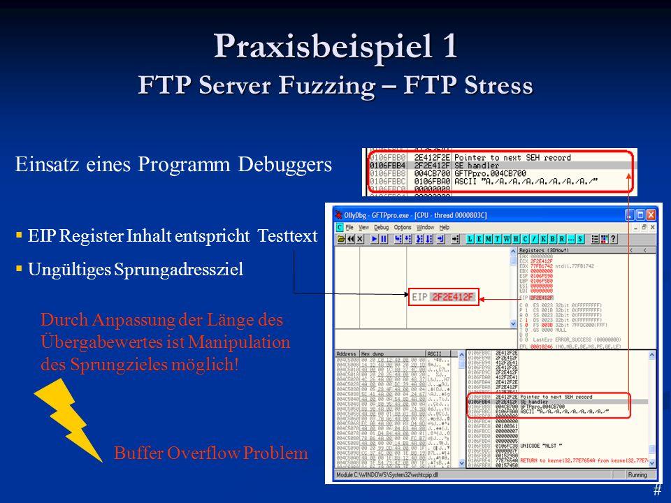 Praxisbeispiel 1 FTP Server Fuzzing – FTP Stress Einsatz eines Programm Debuggers EIP Register Inhalt entspricht Testtext Ungültiges Sprungadressziel