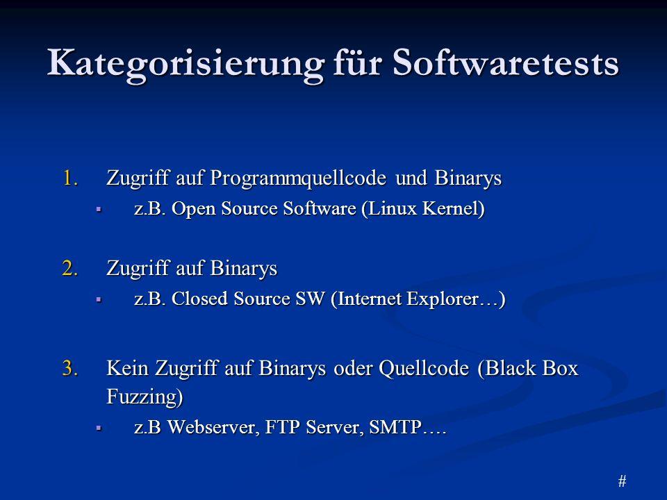 Kategorisierung für Softwaretests 1.Zugriff auf Programmquellcode und Binarys z.B. Open Source Software (Linux Kernel) z.B. Open Source Software (Linu