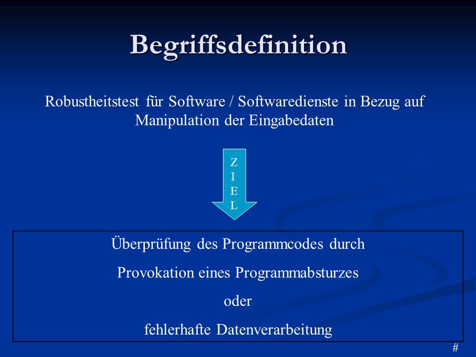 Begriffsdefinition Überprüfung des Programmcodes durch Provokation eines Programmabsturzes oder fehlerhafte Datenverarbeitung Robustheitstest für Soft