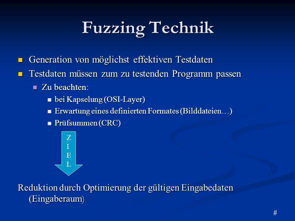 Fuzzing Technik Generation von möglichst effektiven Testdaten Generation von möglichst effektiven Testdaten Testdaten müssen zum zu testenden Programm