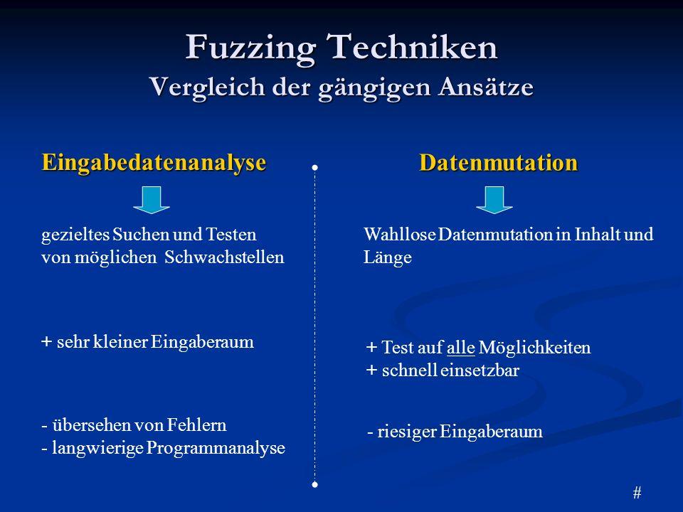 Aktuelle Implementierungen Unix-Fuzz Unix System Kommandos ISIC TCP/IP Stacks FTP-Stress FTP Protokoll MangleMe HTML-Tags und Code Programmbezogene Fuzzer Fuzzing Frameworks - hohe Spezialisierung auf EinsatzgebietSpikeNetzwerkprotokolle Sprache: C OS: Linux / Unix Peach Universell einsetzbar Sprache: Python OS: alle BeD Web Applikationen Sprache: C OS:alle #