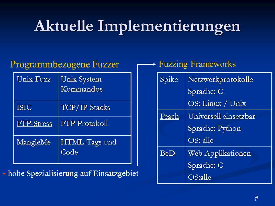 Aktuelle Implementierungen Unix-Fuzz Unix System Kommandos ISIC TCP/IP Stacks FTP-Stress FTP Protokoll MangleMe HTML-Tags und Code Programmbezogene Fu