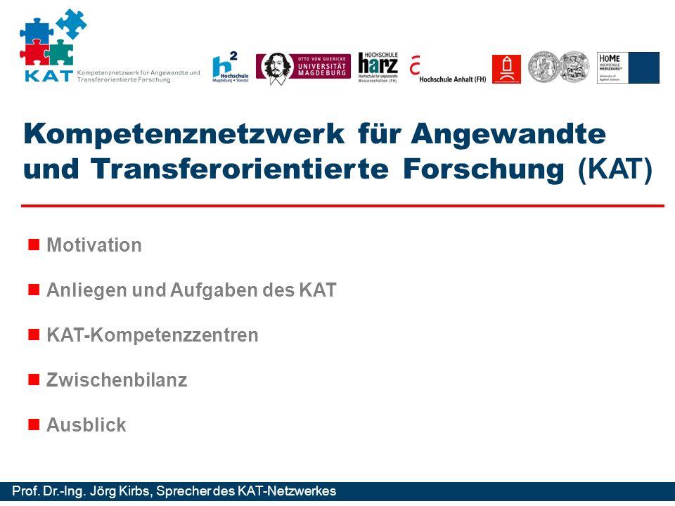 Kompetenznetzwerk für Angewandte und Transferorientierte Forschung Prof. Dr.-Ing. Jörg Kirbs, Sprecher des KAT-Netzwerkes Kompetenznetzwerk für Angewa