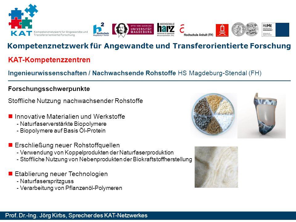 Kompetenznetzwerk für Angewandte und Transferorientierte Forschung Prof. Dr.-Ing. Jörg Kirbs, Sprecher des KAT-Netzwerkes Ingenieurwissenschaften / Na