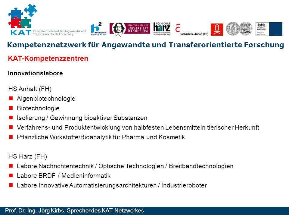 Kompetenznetzwerk für Angewandte und Transferorientierte Forschung Prof. Dr.-Ing. Jörg Kirbs, Sprecher des KAT-Netzwerkes Innovationslabore HS Anhalt