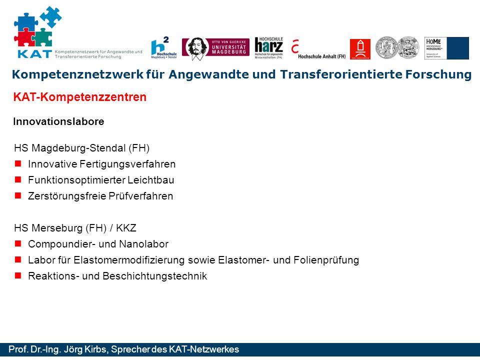 Kompetenznetzwerk für Angewandte und Transferorientierte Forschung Prof. Dr.-Ing. Jörg Kirbs, Sprecher des KAT-Netzwerkes Innovationslabore HS Magdebu