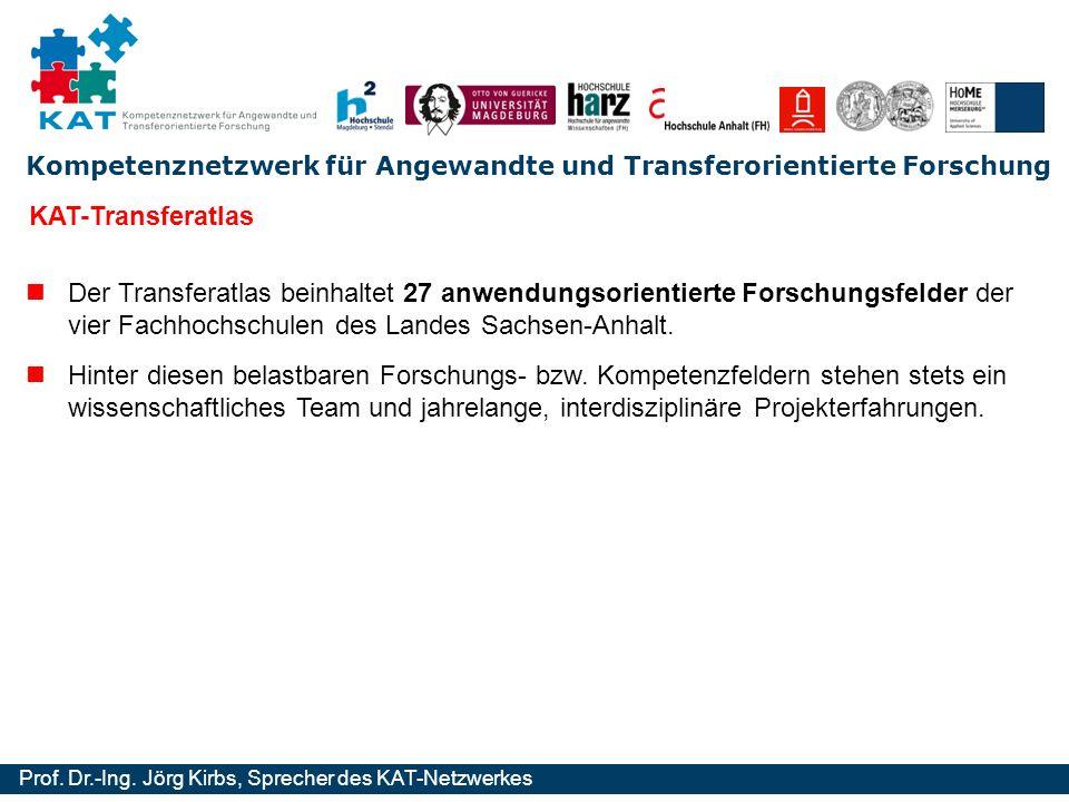 Kompetenznetzwerk für Angewandte und Transferorientierte Forschung Prof. Dr.-Ing. Jörg Kirbs, Sprecher des KAT-Netzwerkes KAT-Transferatlas Der Transf