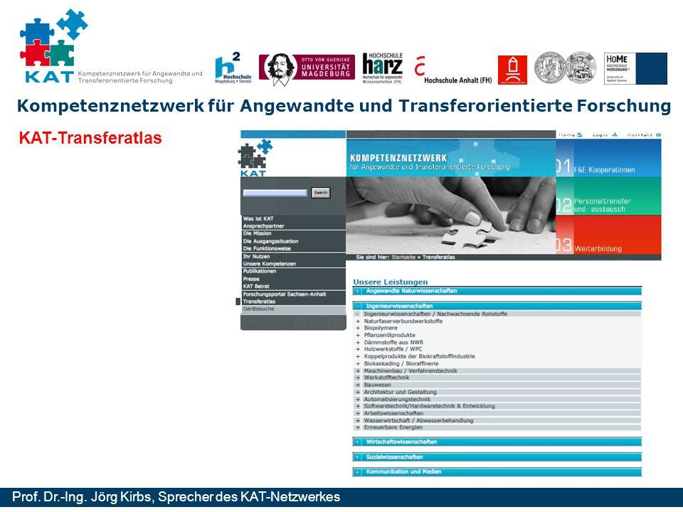 Kompetenznetzwerk für Angewandte und Transferorientierte Forschung Prof. Dr.-Ing. Jörg Kirbs, Sprecher des KAT-Netzwerkes KAT-Transferatlas