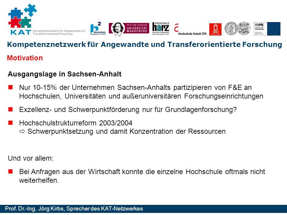 Kompetenznetzwerk für Angewandte und Transferorientierte Forschung Prof. Dr.-Ing. Jörg Kirbs, Sprecher des KAT-Netzwerkes Motivation Ausgangslage in S